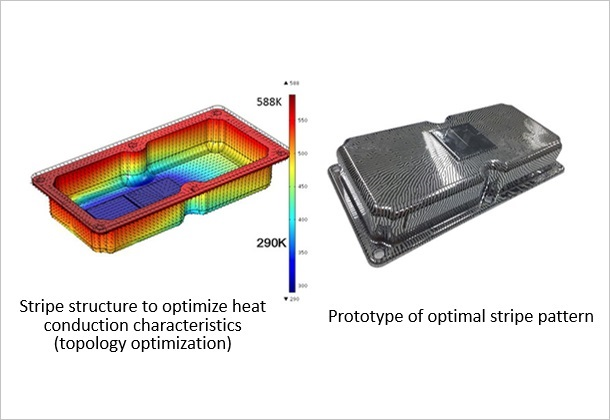 (Figure 3)Stripe structure to optimize heat conduction characteristics(topology optimization) / Prototype of optimal stripe pattern